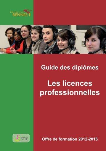 Les licences professionnelles - Université de Rennes 1