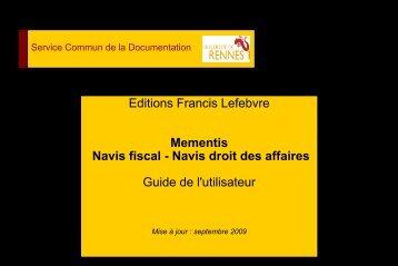 Editions Francis Lefebvre Mementis Navis fiscal - Navis droit des ...