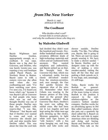 malcolm gladwell s the creation myth review Malcolm gladwell is one of my favorite authors  we are so caught in the myths  of the best and the brightest and the self-made that we think outliers spring.
