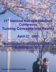 Turning Concepts into Reality - National Nutrient Databank ...