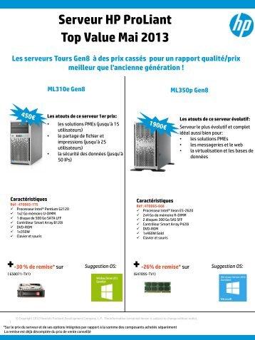 Serveur HP ProLiant Top Value Mai 2013 - Hewlett-Packard France ...