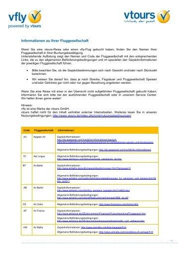 Gepäckinformationen Fluggesellschaften - Vtours