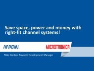 Save space, power and money with right-fit channel systems