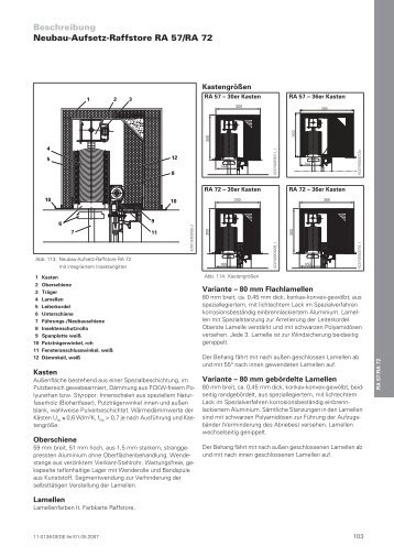 Beschreibung Neubau-Aufsetz-Raffstore RA 57/RA  72