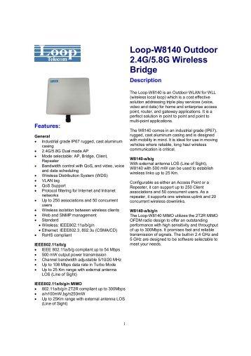 Loop-W8140 Outdoor 2.4G/5.8G Wireless Bridge - DAVANTEL