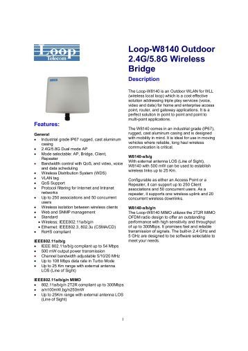 Loop-W8140 Outdoor 2.4G/5.8G Wireless Bridge - DAVANTEL