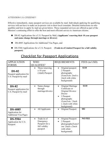 Sample bi 73 passport application form for minors south for Documents checklist passport