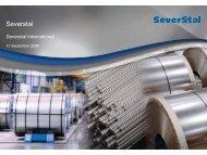 Severstal International Presentation for Investors & Analysts (London).