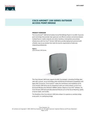 cisco aironet 1300 series outdoor access point/bridge - AirQuay