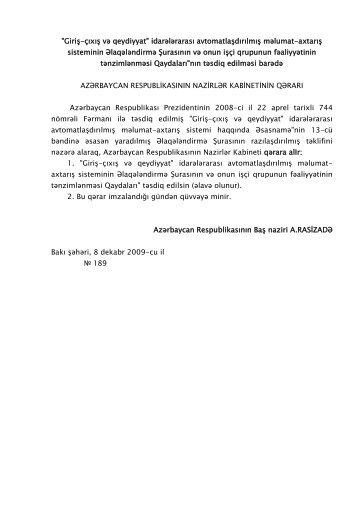 Giriş-çıxış və qeydiyyat - Xarici İşlər Nazirliyi