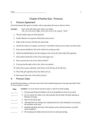 Pronoun Reference, Agreement, & Point of View I. Pronoun ...