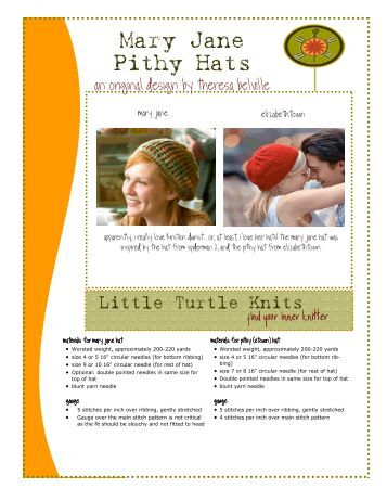 Mary Jane Pithy Hats - Little Turtle Knits