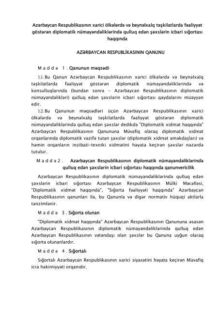 Azərbaycan Respublikasinin Xarici Olkələrdə Və Beynəlxalq