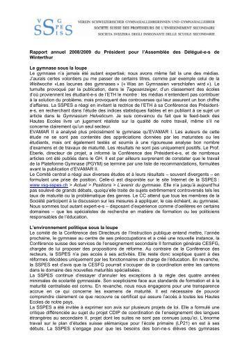 Rapport annuel 2008/2009 du Président pour l'Assemblée des ... - vsg