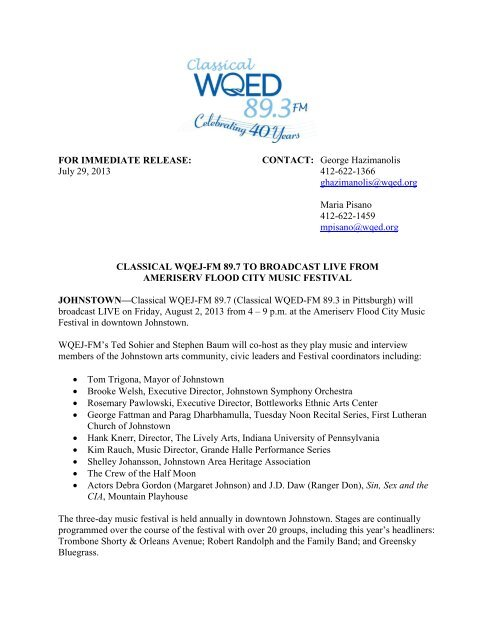 FOR IMMEDIATE RELEASE: July 29, 2013 CONTACT ... - WQED