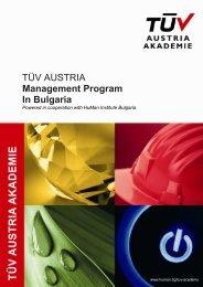 TUV AUSTRIA Academy Management Program in Bulgaria