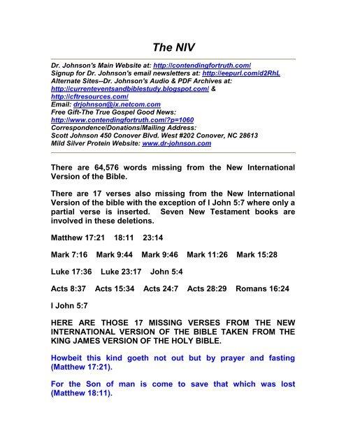 PDF: NIV - Contending for Truth by Dr  Scott Johnson