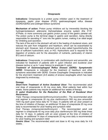 Omeprazole Indications - Pharma Manufacturer