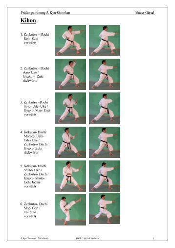 Prüfungsordnung 5. Kyu Shotokan blauer Gürtel 1. Zenkutsu ...