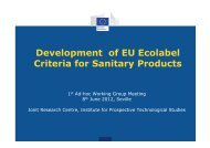 Development of EU Ecolabel Criteria for Sanitary Products