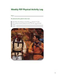 Weekly PEP Physical Activity Log