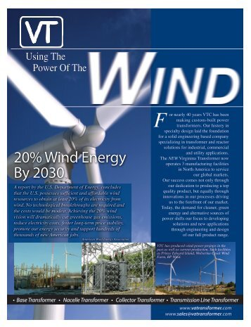 20% Wind Energy By 2030 - Virginia Transformer Corp