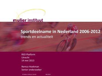 Presentatie Ontwikkelingen sportdeelname - Mulier Instituut