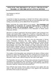 SPEECH BY THE PRESIDENT OF AProCA, MR ... - AFCOT