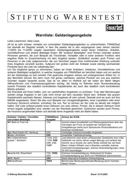 Warnliste: Geldanlageangebote - WMD Brokerchannel