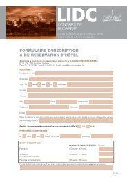 FORMULAIRE D'INSCRIPTION & DE RÉSERVATION D'HOˆ TEL