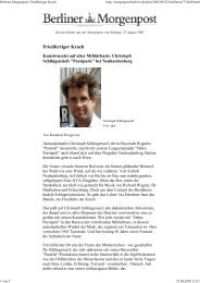 Berliner Morgenpost: Friedfertiger Krach - Christoph Schlingensief