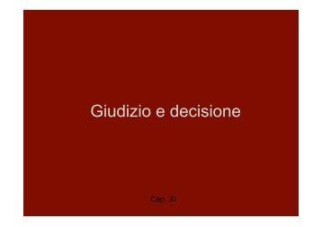 Giudizio e decisione - Lettere e Filosofia