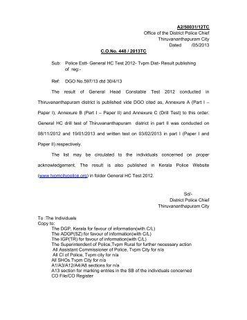 General HCs Test - Result 2013 - Thiruvananthapuram City Police