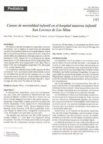 Pediatría Causas de mortalidad infantil en el hospital materno ...