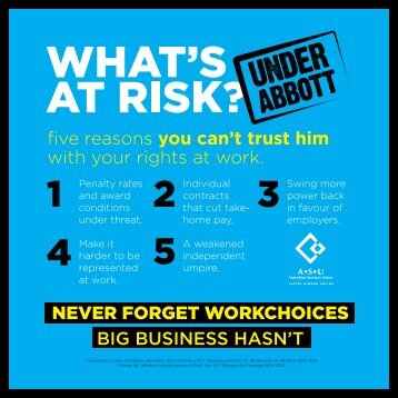 five reasons you can't trust him with your rights at work ... - ASU NSW