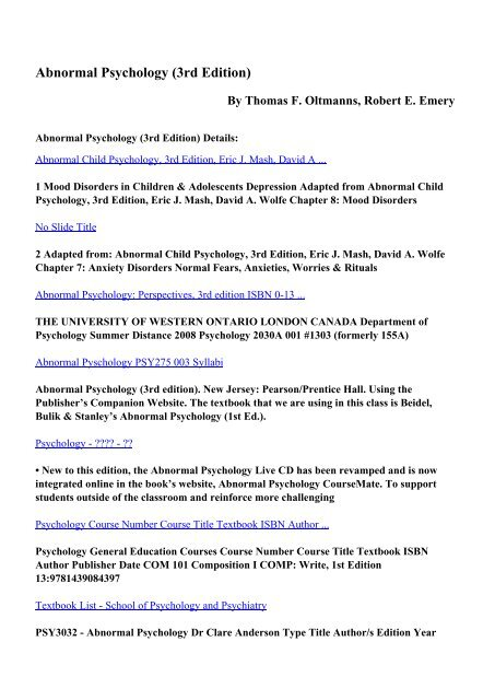 Download Abnormal Psychology 3rd Edition Pdf Ebooks By