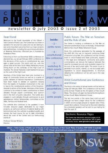 Newsletter 2.indd - Gilbert + Tobin Centre of Public Law - University ...