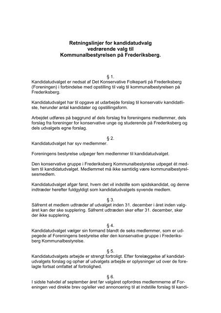 Retningslinjer for kandidatudvalg vedrørende valg til ...