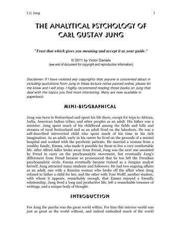 analytical psychology of carl jung Analytical psychology nyc info email search carl jung mitchell ritter and the cg jung institute for analytical psychology, zurich.