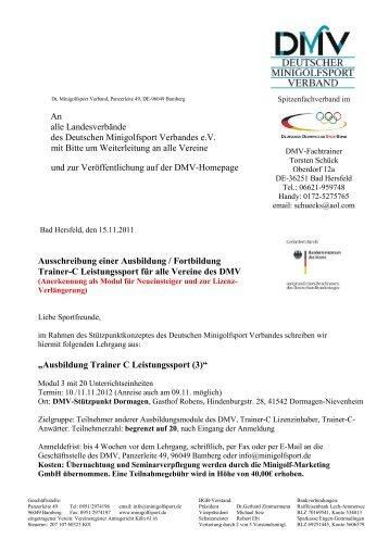 Ausschreibung - Deutscher Minigolfsport Verband
