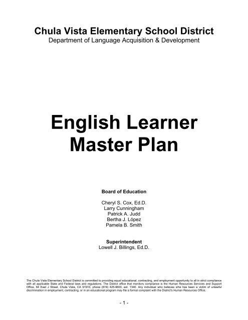 English Learner Master Plan Chula Vista Elementary School