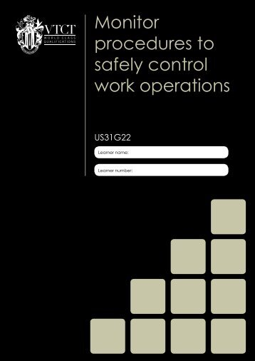 Monitor procedures to safely control work operations - VTCT