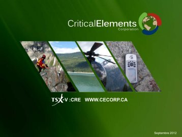 O - Critical Elements Corporation