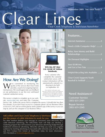 September 2009 Clear Lines - Clear Creek Communications