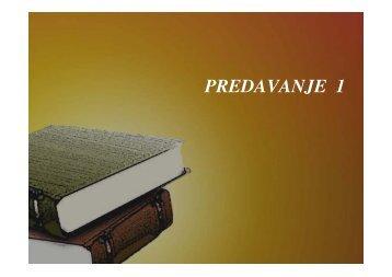 PREDAVANJE 1-2013