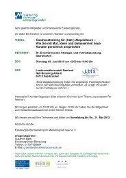 Einladung Lunchvortrag 05. Juni 2012 - Marketingclub Saar