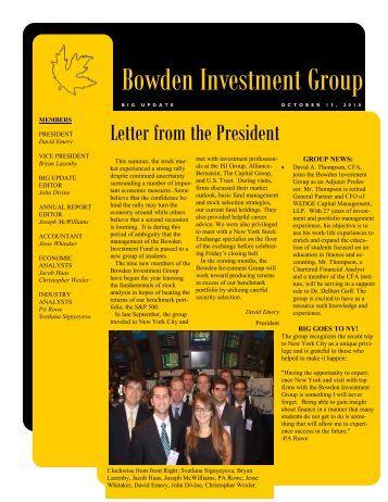 Bowden Investment Fund YTD Returns for 2010