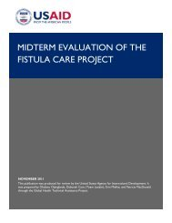 MIDTERM EVALUATION OF THE FISTULA CARE PROJECT