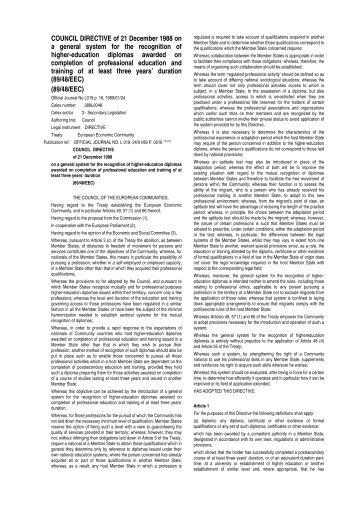 Council Directive 89/48/EEC