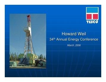 Howard Weil - TESCO Corporation